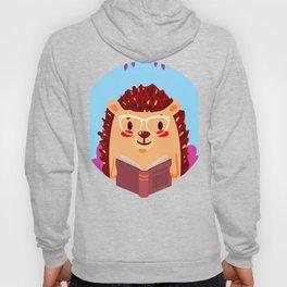 Adorable Hedgehog Book Nerd Shirt  Cute Pun Animal Hoody