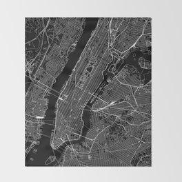 New York City Black Map Throw Blanket