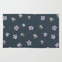 Dainty Wildflowers - Steel Blue & Lilac Rug
