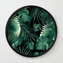 Tropical Jungle Leaves Dream #6 #tropical #decor #art #society6 Wall Clock