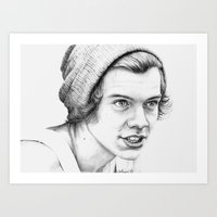 harry styles Art Prints featuring Harry Styles by petitehoneybee