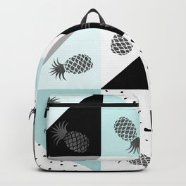 Teal black white dots pineapple geometrical color block Backpack
