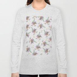 Modern cute whimsical floral unicorn pattern illustration gold glitter polka dots Long Sleeve T-shirt