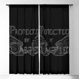 Protected by Castiel Black Wings Blackout Curtain