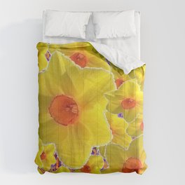 YELLOW-GOLD DAFFODILS FLOWER COLLAGE Comforters