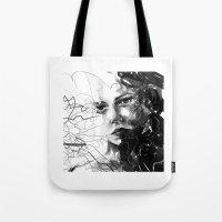 anxiety Tote Bags featuring Anxiety by Tsukiko-Kiyomidzu