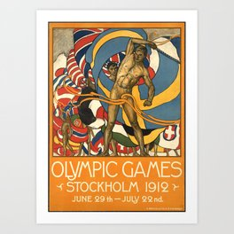 Olympic Games Stockholm 1912 - Vintage Poster Art Print