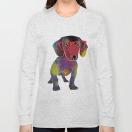 hipster dachshund Long Sleeve T-shirt
