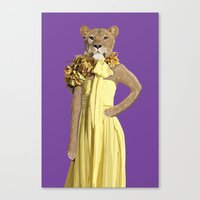 gucci Canvas Prints featuring Lioness wearing Gucci by Jon Rice