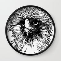 hawk Wall Clocks featuring Hawk  by Art is Vast