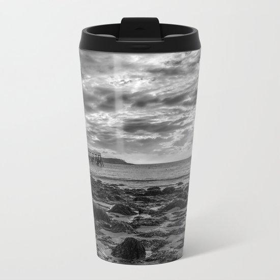 Magnolia Pier #2 B&W Metal Travel Mug