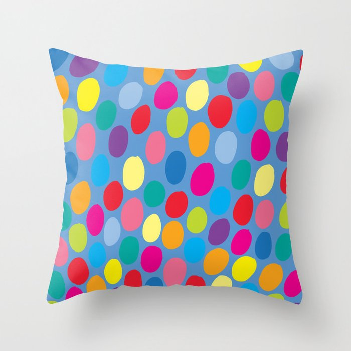 Throw Pillows Spotlight : Blue colour color spot pattern Throw Pillow by evannave Society6