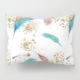 Golden Peacock Feather Pattern 14 Pillow Sham