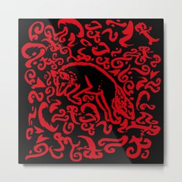 Jumping Red Fox on Black Background Metal Print