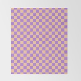 Deep Peach Orange and Lavender Violet Checkerboard Throw Blanket