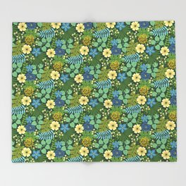Tropical Blue and Yellow Floral Throw Blanket