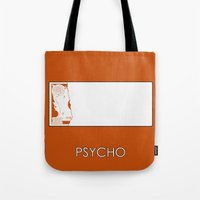 psycho Tote Bags featuring Psycho by MacGuffin Designs