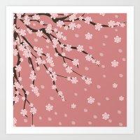sakura Art Prints featuring Sakura by Julia Badeeva