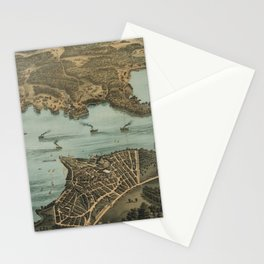 Vintage Pictorial Map of Lake Chautauqua NY (1885) Stationery Cards
