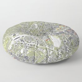 Munich city map engraving Floor Pillow