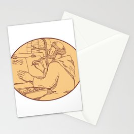 Medieval Monk Writing Illuminated Manuscript Drawing Color Stationery Cards
