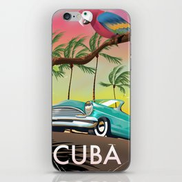 Cuba vintage travel poster print iPhone Skin
