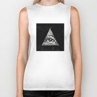 illuminati Biker Tanks featuring Illuminati by Jenny Joleen