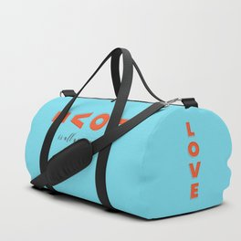 Love is all - typography Duffle Bag