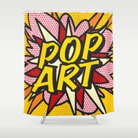 comic book Shower Curtains featuring Comic Book POP ART by Thisisnotme
