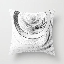 White on Black Circular Fractal of a Jinbaori Samurai Symbol Throw Pillow