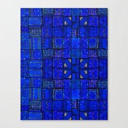 Deep Calm Blue Oriental Berber Traditional Moroccan Texture Design  Canvas Print