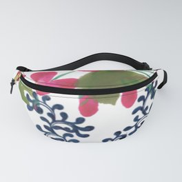 Pink Flowers and Blue Vines | Floral art  Fanny Pack