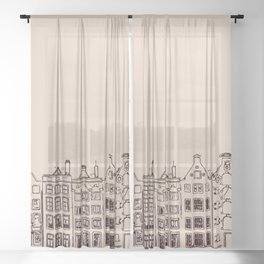Canal house in Amsterdam, The Netherlands Sheer Curtain