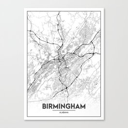 Minimal City Maps - Map Of Birmingham, Alabama, United States Canvas Print