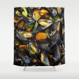 Cooked mussels Shower Curtain