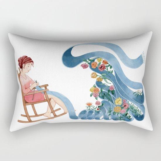 Knitting the spring Rectangular Pillow