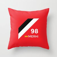 f1 Throw Pillows featuring F1 2015 - #98 Merhi [v2] by MS80 Design