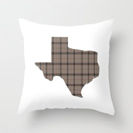 Texas State Shape: Brown Throw Pillow