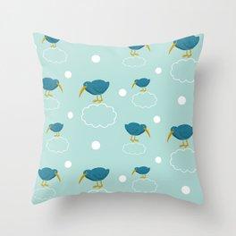 Kiwi birds on the clouds Throw Pillow