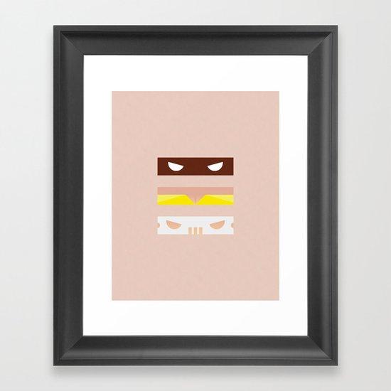 Teenage Minimal Ninja Good Guys Framed Art Print