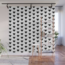 Small Hearts Pattern (black/white) Wall Mural
