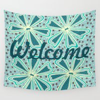 welcome Wall Tapestries featuring Welcome by Vickn