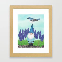 gnome with cerulean warbler and grape hyacinths Framed Art Print