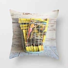 Nancy Drew in a Basket Throw Pillow