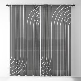 Minimal Line Curvature - Black and White II Sheer Curtain