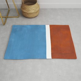 Antique Pastel Blue Brown Mid Century Modern Abstract Minimalist Rothko Color Field Squares Rug