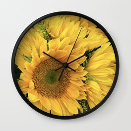 Kissed By the Sun Vibrant, Sunny Sunflowers Wall Clock