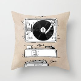 patent art Like combination sound and picture mechanism 1950 Throw Pillow