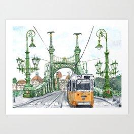 Budapest Hungary Liberty Bridge Painting Art Print