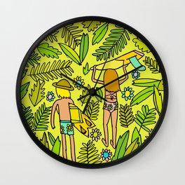 Wander On // Single fin Twin Fin surf art tropical Wall Clock